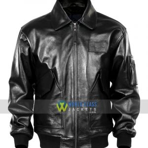 Men Black USAF Pilot Leather Jacket