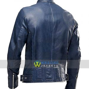 Cafe Racer Blue Leather Jacket Sale