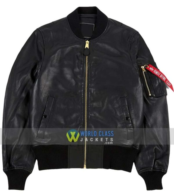 Alpha Industries MA-1 Leather-Flight-Bomber-Leather-Jacket-Replica