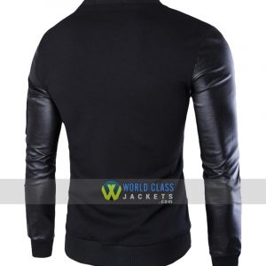 Baseball Stand Collar Single Breasted Black Slim Fit Men's Jacket with PU Sleeve