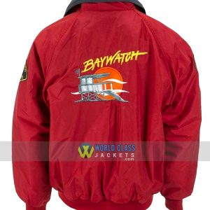 Baywatch Lifeguard David Hasselhoff Red Bomber Jacket Replica