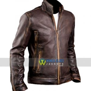 $70 OFF Men's Biker Café Racer Vintage Leather Jacket