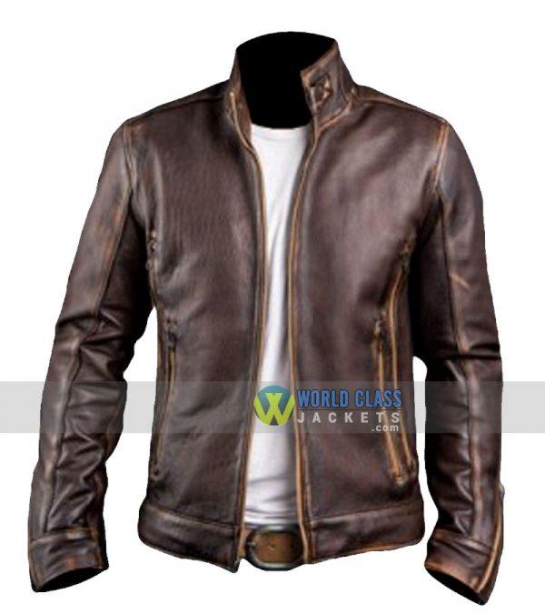 Buy Gents Biker Café Racer Vintage Distressed Brown Original Leather Jacket
