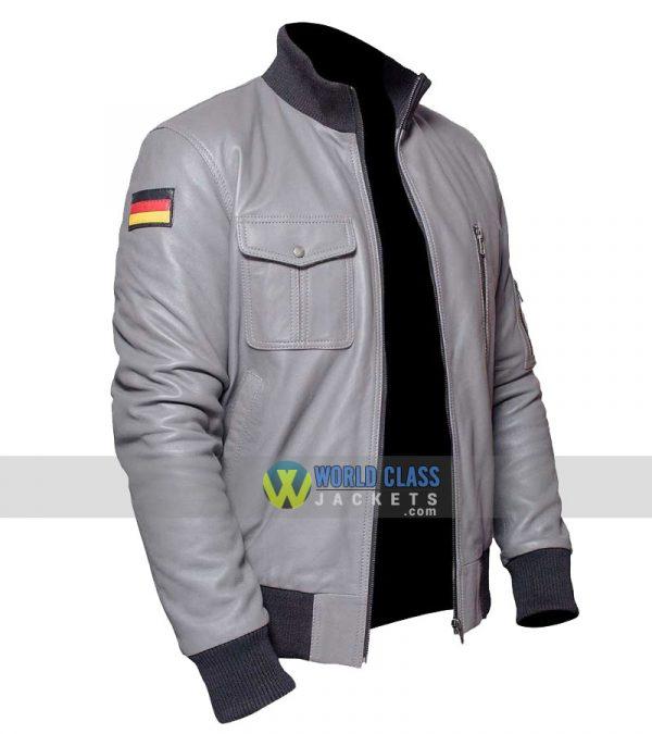 $40 Off - German Flag Grey Leather Pilots Flight Jacket Flying Jacket