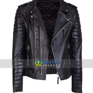 Mens Original Black Leather Jacket Slim Fit Real Biker New Vintage