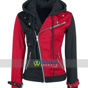 Psychotic Harley Quinn Womens Red & Black Biker Faux Leather Hoodie Jacket