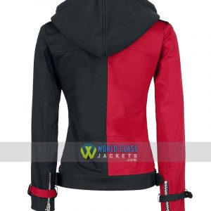 Red & Black Psychotic Harley Quinn Womens Biker Cotton Hoodie Jackets