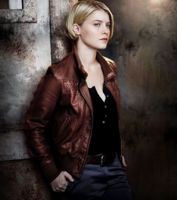 Sarah Jones Alcatraz Detective Rebecca Madsen Brown Leather Jacket