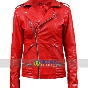 Riverdale Red Ladies Biker Leather Jacket Cheryl Blossom