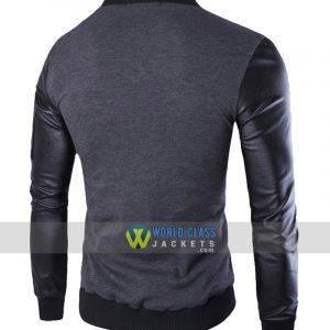 Stand Collar Single Breasted Slim Fit Men's Casual Jacket Grey