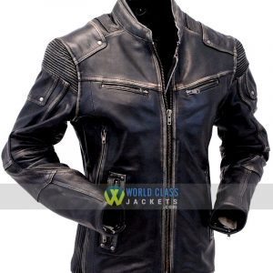 Buy Vintage Cafe Racer Distressed Genuine Leather Jacket