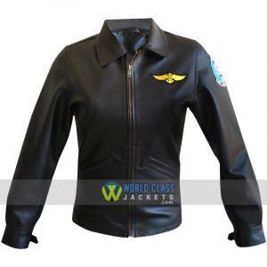 Women Kelly Mc Gillis Charlie Bomber Black Pilot Aviator Leather Jacket Top Gun
