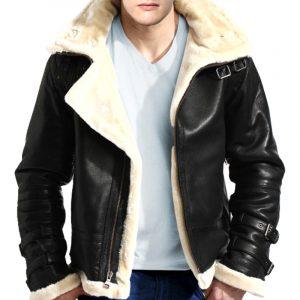 B-3 Bomber WWII Black Original Sheepskin Fur Flight Leather Jacket