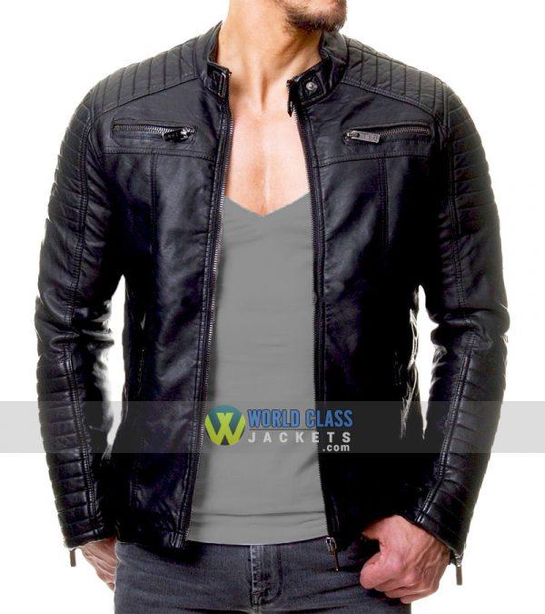 Men/'s Black Biker Lambskin Jacket Cafe Racer Retro Slim fit Real Leather Jacket