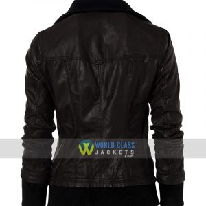 Double Collar Womens Casual Wear Bomber Black Leather Jacket