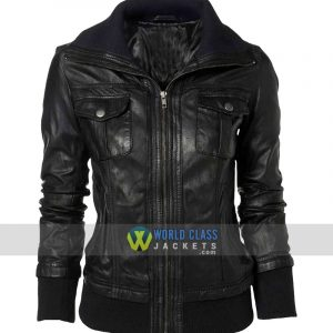 Womens Double Collar Casual Wear Bomber Black Leather Jacket