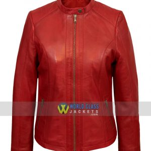Womens Red Biker Genuine Leather Jacket