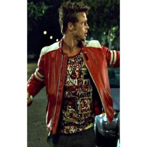 Buy Tyler Durden Fight Club Red And White Leather Jacket