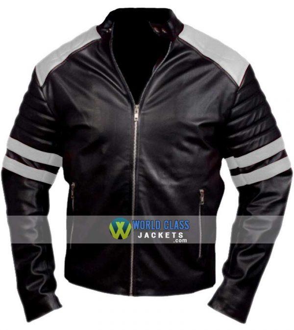 Buy Tyler Durden Black & White Leather Jacket