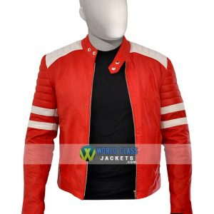 Buy Tyler Durden Red & White Leather Jacket