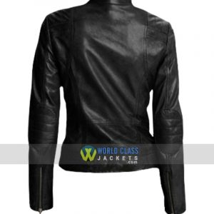 Attractive Style Womens Black Leather Slim Fit Jacket