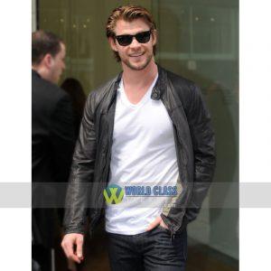 Chris Hemsworth Stylish Black Biker Leather Jacket