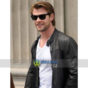 Chris Hemsworth Black Biker Leather Jacket