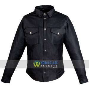 Mens Motorcycle Cowhide Leather Black Full Sleeves Poly Liner Shirt