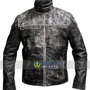 Mens Vintage Motorcycle Retro Distressed Black Antique Leather Jacket