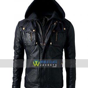 New Men's Motorcycle Brando Style Biker Leather Hoodie Jacket Detach Hood