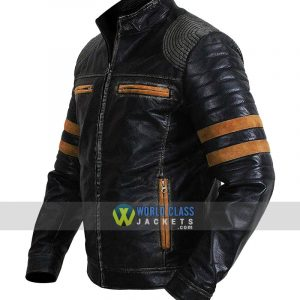 Retro Striped Vintage Cafe Racer Distressed Biker Quilted Black Leather Jacket