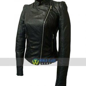 Ladies Slim Fit Real Leather Black Cafe Racer Jacket