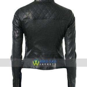 Women Biker Real Black Leather Moto Jacket