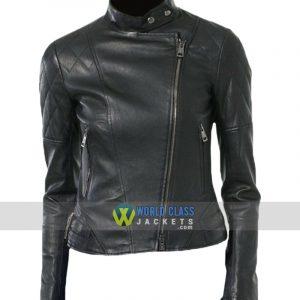 Women Moto Real Black Leather Biker Jacket