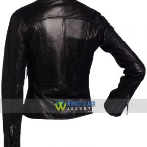 Women Vintage Style Black Faux Leather Biker Jacket