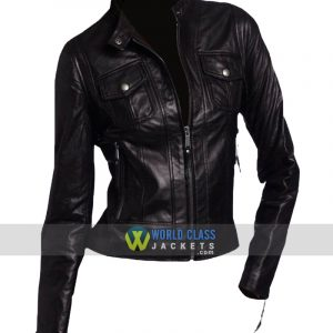 Women Vintage Style Faux Black Leather Biker Jacket
