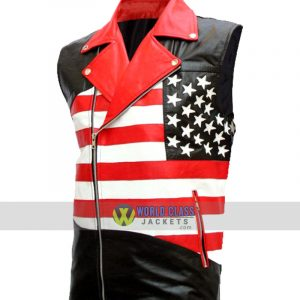American Flag Mens Biker Leather Sleeveless Jacket