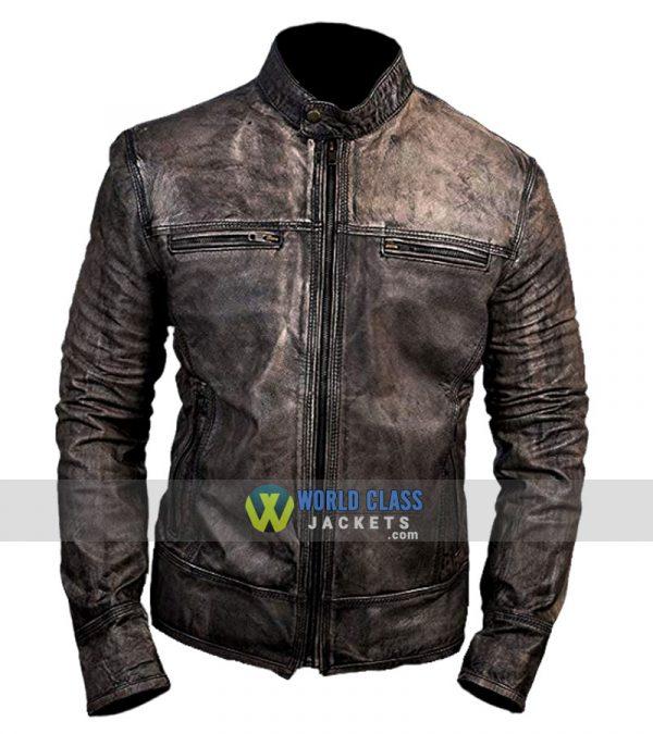 Cafe Racer Retro Distressed Vintage Moto Black Leather Jacket