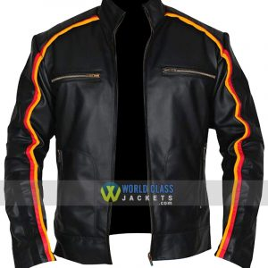 Dean Ambrose WWE Smack Down Striped Black Leather Jacket