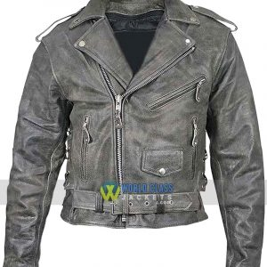 Men's Belted Biker Distressed Leather Jacket