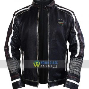 Men's Brando Black Cafe Racer Retro Biker Leather Jacket