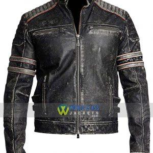 Mens Cafe Racer Brando Motorcycle Retro Biker Leather Jacket