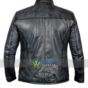 Mens Cafe Racer Retro Distressed Vintage Moto Black Leather Jacket