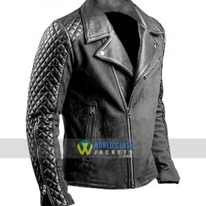 Mens Cafe Racer Stylish Biker Black Distressed Leather Jacket