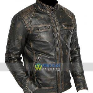 Mens Lambskin Leather Biker Style Casual Jacket Slim Fit Bowie Black Rub Off Jacket