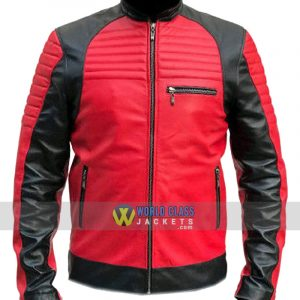 Men's Quilted Red and Black Faux Leather Designer Motorcycle Biker Jacket