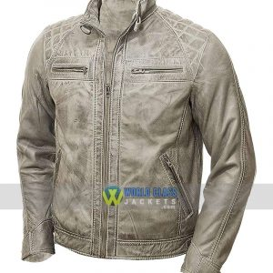 Men's Vintage Grey Waxed Genuine Leather Biker Jacket