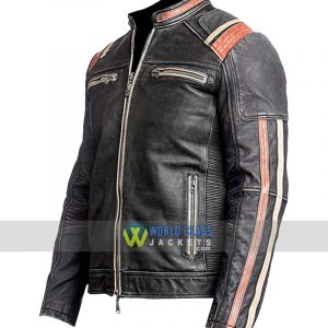 Vintage Cafe Racer Mens Retro Distressed Black Biker Motorcycle Real Leather Jacket