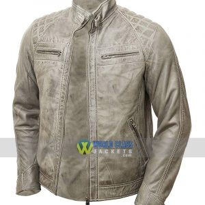 Vintage Grey Waxed Men's Genuine Leather Biker Jacket