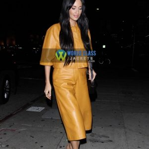 Buy Kacey Musgraves Yellow Leather Dress at $100 Off Price